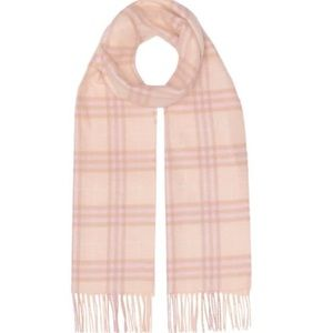 Burberry dusty pink vintage  check cashmere scarf.